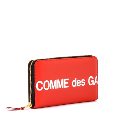 Laterale Comme Des Garçons Wallet Huge Wallet Logo zip around in red leather