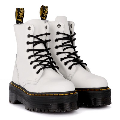 Laterale Dr. Martens Jadon white leather ankle boots with maxi sole