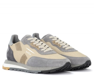 Laterale Ghoud Rush trainer in beige and grey leather suede and fabric