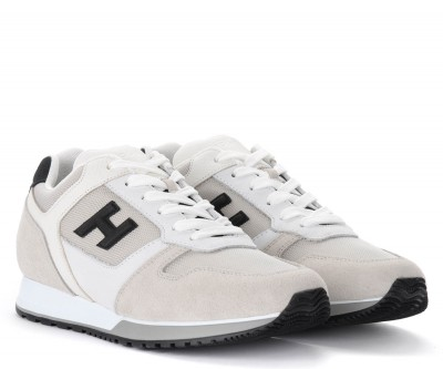 Laterale Hogan H321 sneakers in black and white leather and suede