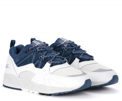 Laterale Karhu Fusion 2.0 white and blue leather and suede sneaker