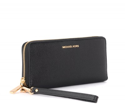 Laterale Michael Kors Continental model wristlet in black grained leather