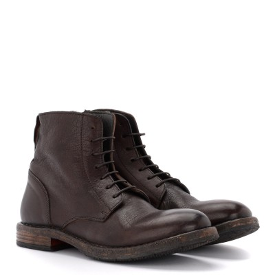 Laterale Moma Cusna ankle boot in dark brown leather with side zip