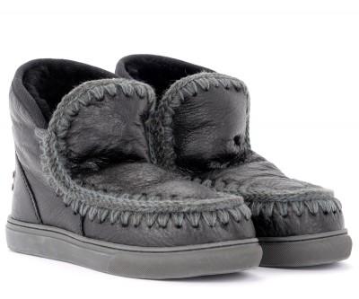 Laterale Stivaletto Mou Mini Eskimo Sneaker in montone cracklè nero
