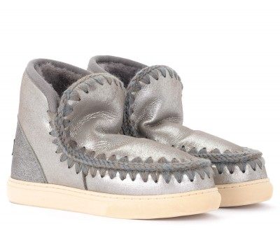 Laterale Mou Mini Eskimo Sneaker ankle boot in gray sheepskin with microglitter effect