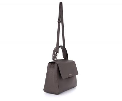 Laterale Orciani Sveva Soft Media dark brown leather bag