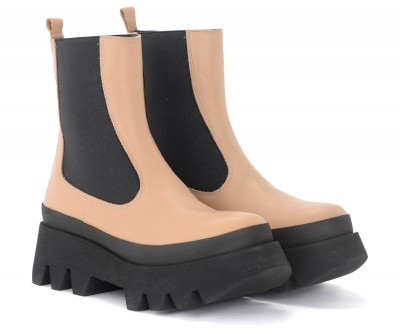 Laterale Paloma Barcelò Bianca Chelsea boot in hazelnut-coloured leather