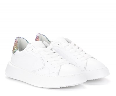 Laterale Philippe Model Temple sneakers in white leather and glitter