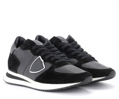 Laterale Philippe Model Tropez X sneaker in black leather and suede