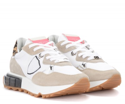Laterale Philippe Model La Rue sneakers in white and beige with animal print details