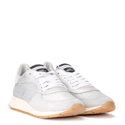 Laterale Sneaker Philippe Model Montecarlo in pelle e glitter argento