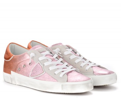 Laterale Philippe Model Paris X trainer in pink and orange laminated leather