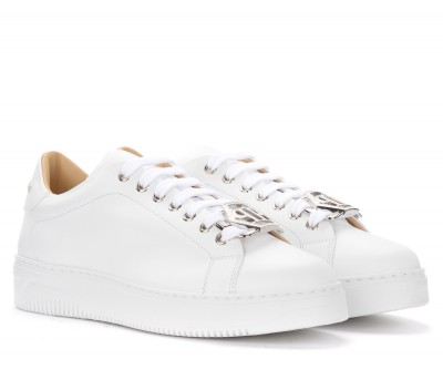 Laterale Philipp Plein Hexagon Trainer in white leather with buckle