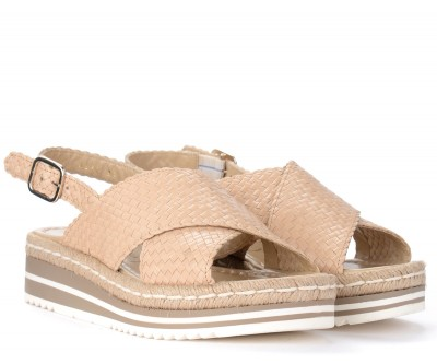 Laterale Pons Quintana sandal in ivory woven leather