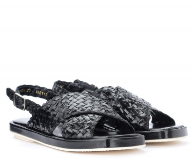 Laterale Pons Quintana Malena black sandal in woven leather