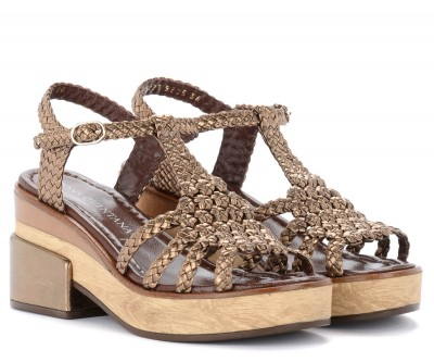 Laterale Pons Quintana heeled sandals in bronze-colored woven leather