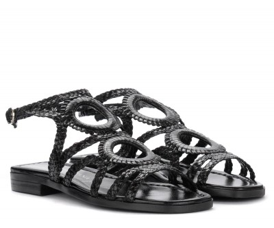 Laterale Pons Quintana flat sandals in black woven leather
