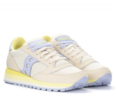 Laterale Saucony Jazz Triple trainer in beige and silver leather with yellow details