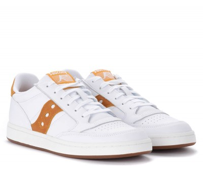 Laterale Saucony Jazz Court white sneakers with yellow logo