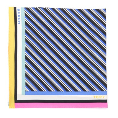 Laterale Tory Burch scarf in blue oblique striped silk