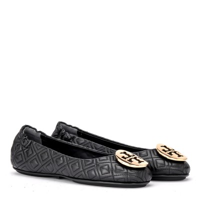 Laterale Tory Burch Minnie Travel ballerina in black quilted leather