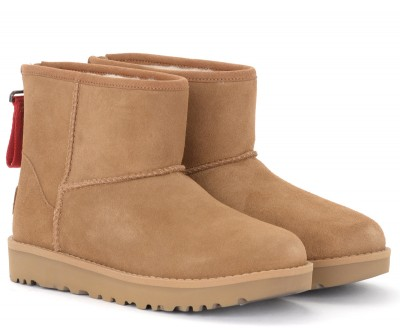 Laterale UGG Classic Mini Zip Logo Ankle boot in brown leather