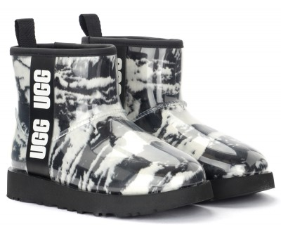 Laterale UGG Classic Clear Mini ankle boot in black rubber