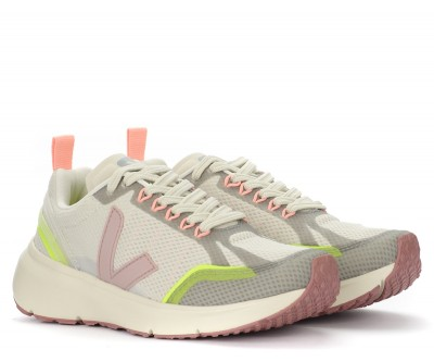 Laterale Veja Condor 2 trainer in beige, yellow and pink Alveomesh fabric