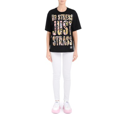 Laterale Black Versace Jeans Couture oversized T-Shirt with Versailles print