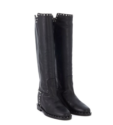 Laterale Via Roma 15 black leather boots with studs