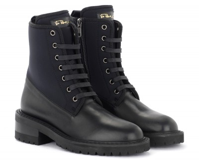 Laterale Via Roma 15 boots in black leather and neoprene