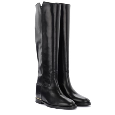 Laterale Via Roma 15 boot in black leather with gold thread