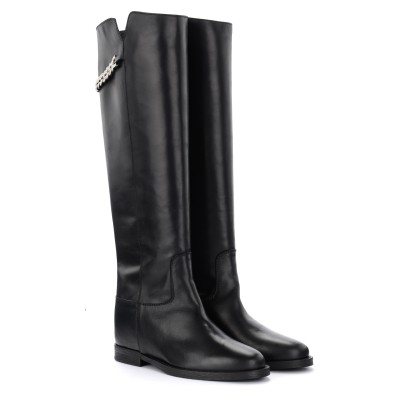 Laterale Via Roma 15 boot in black leather with silver chain