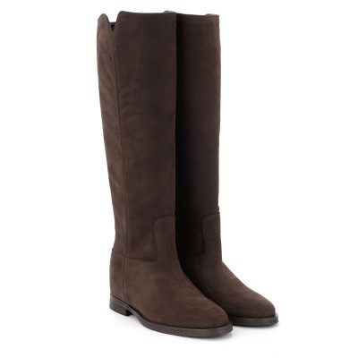 Laterale Via Roma 15 boot in dark brown suede