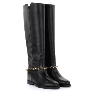 Laterale Via Roma 15 boot in black leather with removable chain