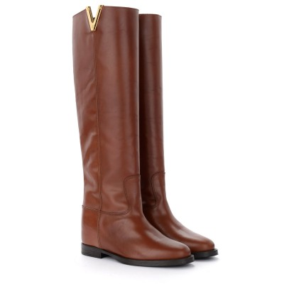 Laterale Via Roma 15 boot in brown leather with side V