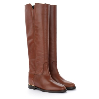 Laterale Via Roma 15 boot in brown leather with gold thread