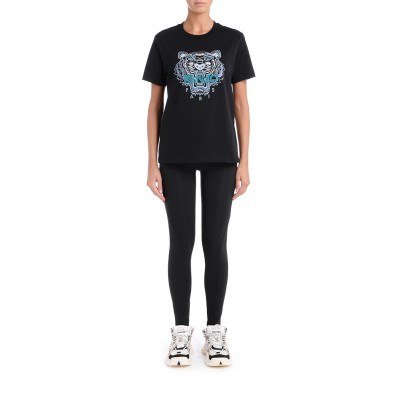 Laterale Kenzo Tiger model over T-shirt made of black cotton