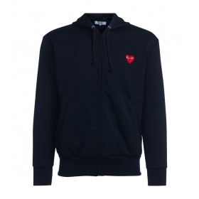Comme Des Garçons PLAY men's black sweatshirt with hood and red heart