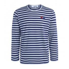 Comme Des Garçons PLAY men's double heart striped sweater