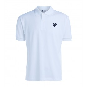 Polo Comme Des Garçons PLAY men's white t-shirt with black heart