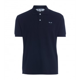 Comme Des Garçons PLAY men's black polo with black heart