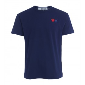 Comme Des Garçons PLAY blue T-shirt with double heart
