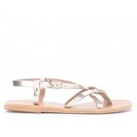 Sandal Ancient Greek Sandals Platinum colored semele in metallic leather