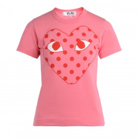 Comme Des Garçons Play pink women's t-shirt with red polka dot heart