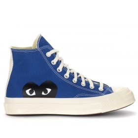 Sneaker alta Comme des Garçons Play x Converse blu con cuore nero
