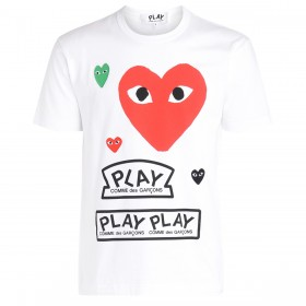 Comme Des Garçons PLAY white t-shirt with red overlapped hearts and logos.