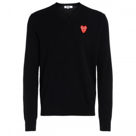 Comme Des Garçons PLAY black jumper with overlapped hearts.