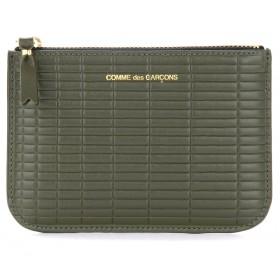 Comme Des Garçons Wallet Brick Line in khaki coloured leather