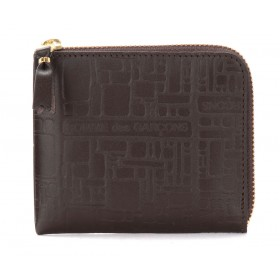 Wallet Comme Des Garçons pouch in brown printed leather